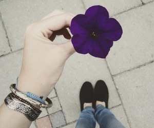 flower, girl, and purple image