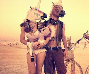 unicorn, Burning Man, and family image