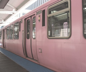 pink, train, and grunge image