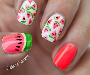 nails, watermelon, and summer image