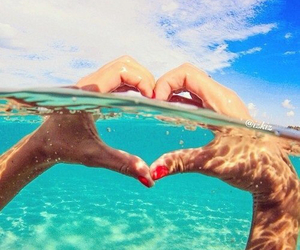 heart, sky, and ocean image