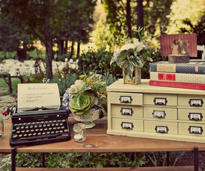 vintage, desk, and typewriter image