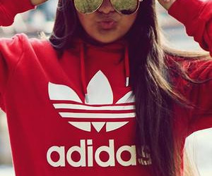 adidas, girl, and red image