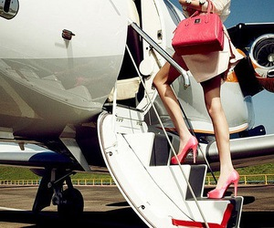 airplane, pink, and plane image
