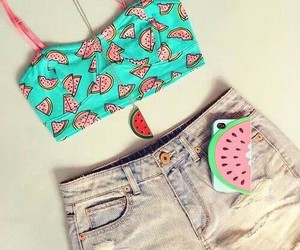 fashion, watermelon, and outfit image