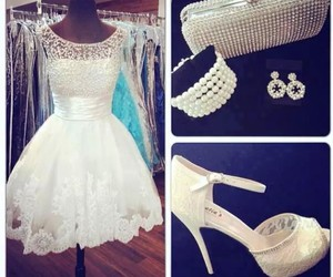 dress, shoes, and white image