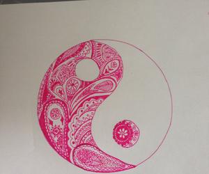draw, pink, and yinyang image