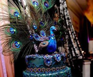 cake, peacock, and blue image