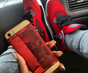 red, iphone, and shoes image