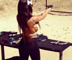 girl, gun, and nabilla image