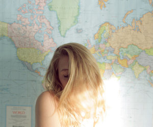 blonde, girl, and map image