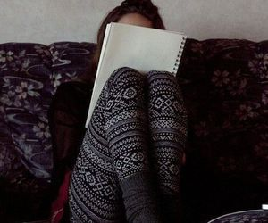 girl, winter, and book image