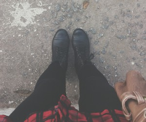black, combat boots, and cool image