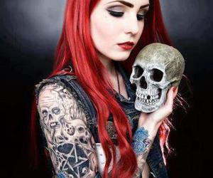 tattoo, skull, and red hair image