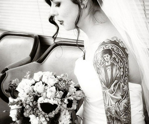 tattoo, bride, and black and white image