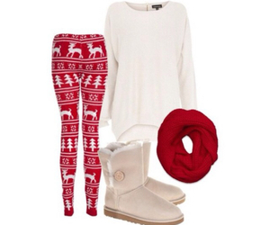 red, outfit, and sweater image