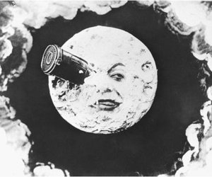 moon, black and white, and movie image