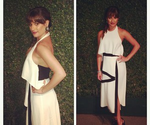 dress, white and black, and lea michele image