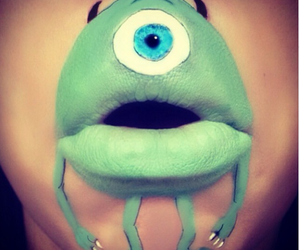 lips, green, and monster image