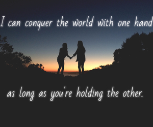 best friends, quotes, and sunset image