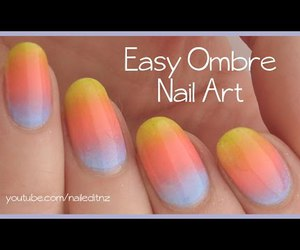 nail art, ombre nails, and bright nail art image