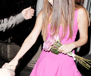 selena gomez, pink, and flowers image