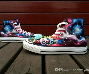 custom shoes, galaxy, and hand painted shoes image