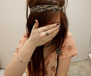floral, girl, and hair image