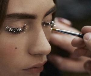 girl, eyes, and glitter image