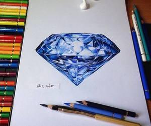 diamond, art, and blue image