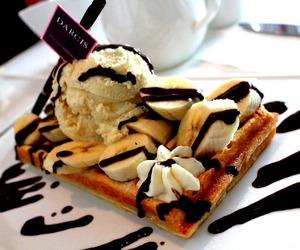 chocolate, ice cream, and waffles image