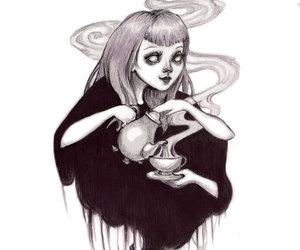 tea, black and white, and dark image