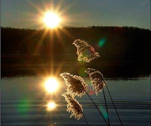 lake, sunset, and sun image