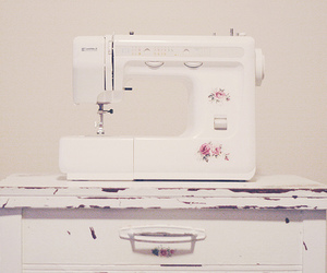 floral, sewing machine, and shabby chic image