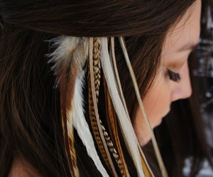 beautiful, brunette, and feathers image