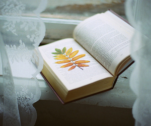 book, vintage, and leaves image