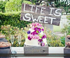 cake, indie wedding, and flowers image