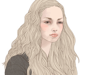 blonde, drawing, and girl image