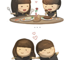 love, couple, and food image