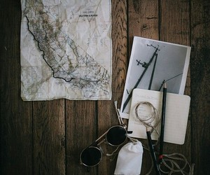 travel, map, and glasses image