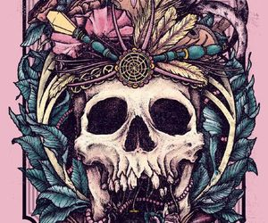 skull, flowers, and pink image
