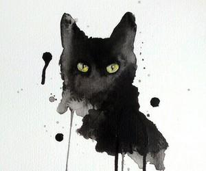 art, balck, and cat image