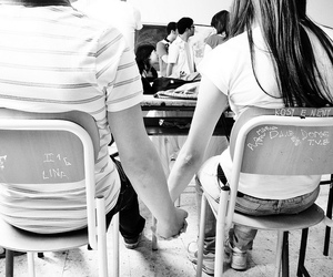 black n white, couple, and hands image