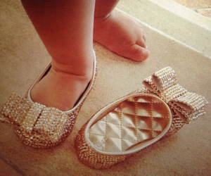 baby, shoes, and gold image