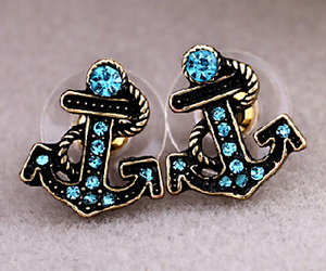 anchor, blue, and earrings image
