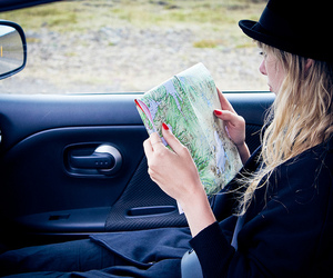 driving, map, and girl image