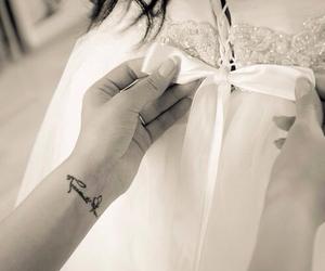bow, weddingdress, and tatto image