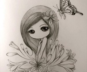girl, butterfly, and flowers image