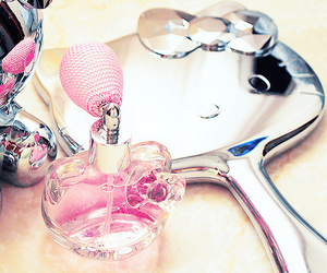 hello kitty, pink, and perfume image