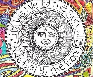 sun, moon, and hippie image
